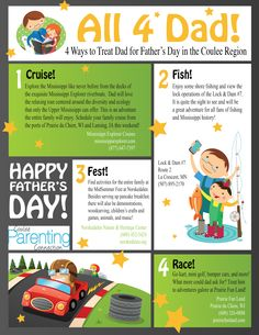 Great ideas for Father's Day activities in the Coulee Region of Wisconsin! For more events, check out the Connection Effect Family Fun Calendar at www.cpclax.com