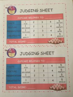 Just A Simple Printable Grading Sheet For The Judges Based On Taste,  Texture, Presentation