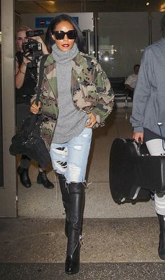 in Camo: Jada Pinkett Smith's Military Jacket and Turtleneck Look for Less Jada Pinkett Smith Look for Less Camouflage Fashion, Camo Fashion, Military Fashion, Fashion Outfits, Fashion 2018, Camo Outfits, Casual Outfits, Work Outfits, Mode Inspiration