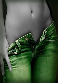 Sexy body in green jeans