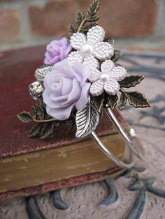 Lavender & Silver Cuff Bracelet Bridal by TreeTownPaper on Etsy, $56.00
