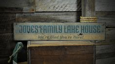 Custom Family Lake House Sign  Rustic Hand by TheLiztonSignShop