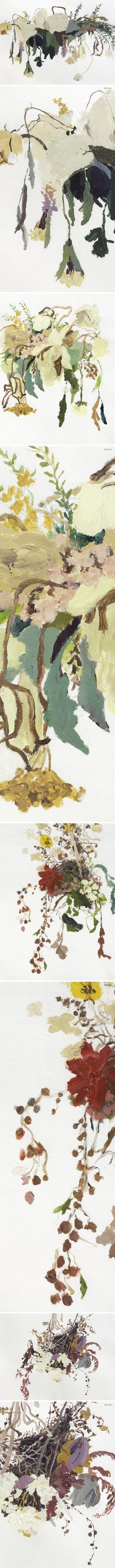 Oh, my. Big, loose, messy bouquets of drying flowers. These paintings {acrylic on paper} are the work of American artist Sarah Meyers Brent. She does some insane mixed media work too… but oh, these pa