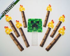 Minecraft Cake or Cupcake Toppers perler beads by TheCraftyCreepers