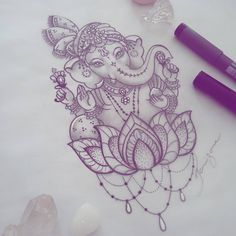 """202 Me gusta, 2 comentarios - Taizane (@taiamorearte) en Instagram: """"Ganesha da Giane #ganeshatattoo #ganesh #drawing #tattoodesign #desenho"""""""