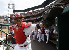 Yadier Molina waves to fans before taking the field for his first game back from the disabled list. Cardinals defeated the Pirates, 6-5. Aug. 15, 2013. Photo by Chris Lee, clee@post-dispatch.com