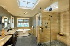 Like the different textures and colors. See river rocks in shower. Nice!