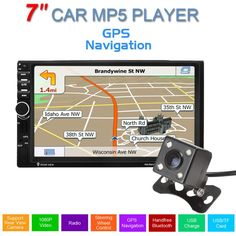 """7"""" 1080P Touch Screen Car Stereo Radio MP5 FM Vedio Player 2 Din USB Support GPS Hands-free Calls  With 420 TV Lines IR Camera"""