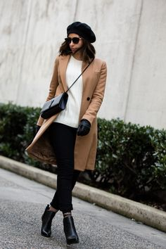 Camel coat, black kylie and kendall booties, black beret, parisian style, fashion blogger, style blogger, ysl bag  http://randasalloum.com/how-to-buy-denim-jeans/ Beret Outfit, Chic Outfits, Short Hair Styles, Normcore, Hair Cuts, Bob Styles, Haircuts, Dressy Outfits, Short Haircuts
