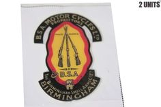 Pair BSA Motorcycles Ltd Trade Marks Birmingham Small Arms Sticker Unit for sale online Bsa Motorcycle, Trade Mark, Birmingham, Motorcycles, Arms, The Unit, Stickers, Ebay, Arm