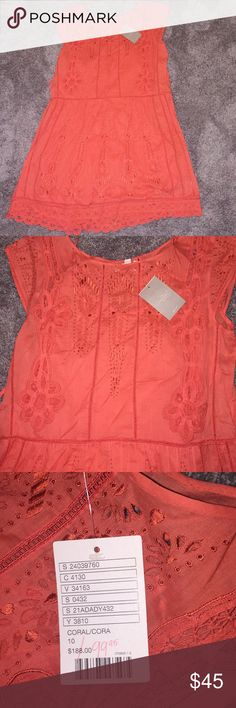 Anthropologie New Eyelet Coral Sundress meadow rue Perfect for spring Anthropologie Dresses Mini