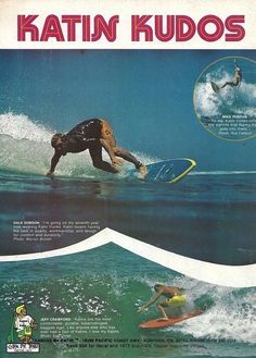 #KatinVault: Kudos to Katin. A 1973 magazine spread featuring world-famous, professional surfers Mike Purpus, Dale Dobson and Jeff Crawford, all proclaiming their love and loyalty for their Katin surf trunks.