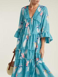 Borgo De Nor Iris Birds of Paradise-print crepe dress Fashion 2020, Girl Fashion, Modesty Fashion, Maxi Robes, Crepe Dress, Summer Dresses For Women, Kaftan Style, African Dress, Boho Outfits