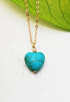 Heart necklace, Turquoise necklace