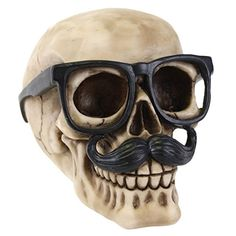 Skull with Glasses & Moustache Ornament Decoration