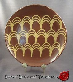 Wisconsin Pottery Redware Red Ware Slip Decorated Looped Fences Plate | eBay