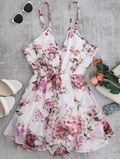 SHARE & Get it FREE | Cami Floral Chiffon Holiday Romper - WhiteFor Fashion Lovers only:80,000+ Items • New Arrivals Daily Join Zaful: Get YOUR $50 NOW!
