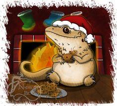 Bearded Dragon Christmas Mini Print by NadilynBeatosArt on Etsy, $10.00