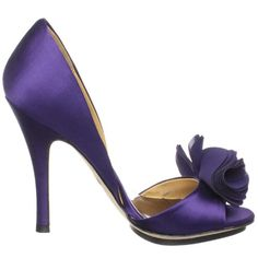 BADGLEY MISCHKA WOMEN'S RANDALL OPEN-TOE PUMP,PURPLE SATIN,7 M US - Click image twice for more info - See a larger selection of bridal shoes at   http://zweddingsupply.com/product-category/bridal-shoes/ - woman , wedding , wedding fashion, wedding style, wedding ideas, woman fashion, shoes.