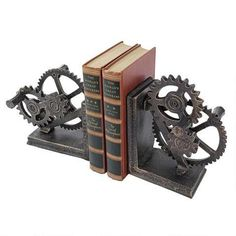 Industrial Gear Sculptural Iron Bookends