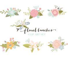 Clipart - ClipArt de fleurs fleur dessinés à la main de fleurs, bouquets floraux, éléments floraux - Digital Graphics de fleur.
