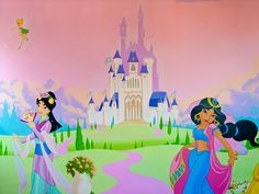 Disney Style Castle, painted relatively simply and quickly to keep costs down. Princess Mural, Disney Princess Bedroom, Princess Room, Girl Bedroom Walls, Bedroom Murals, Wall Murals, Castle Mural, Disney Mural, Little Girl Bedrooms
