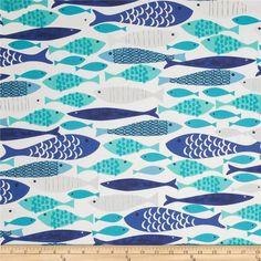 Designerstoffe USA - Wieder da: Michael Miller Stoff Fische,blau türkis - ein Designerstück von oeroematerial bei DaWanda