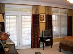 Window Treatments in a Master Bedroom. Ring Curtains with attached valances covering 1 set of french doors and 1 double window. French Door Windows, Blinds For French Doors, French Doors Bedroom, French Door Curtains, Double French Doors, French Doors Patio, Double Window, Master Bedroom, Curtains With Attached Valance