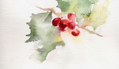 Study Christmas Holly - Watercolor by Annette Price via Painters Online Watercolor Christmas Cards, Watercolor Cards, Watercolor Flowers, Painting & Drawing, Watercolour Painting, Watercolors, Watercolor Projects, Watercolor Techniques, Christmas Paintings