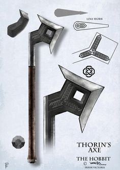 The Hobbit axe Medieval Weapons, Sci Fi Weapons, Weapon Concept Art, Fantasy Weapons, Weapons Guns, Tolkien, O Hobbit, Arm Armor, Knives And Swords