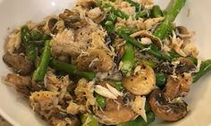My WeightNot dinner tonight: crab, asparagus and mushrooms sauteed in low sodium chicken broth.  #weightloss #weightnot