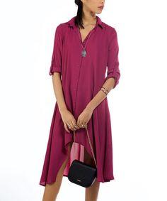 Purple Hi-Low Shirt Dress #zulily #zulilyfinds