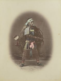 Samurai in Armour; Kusakabe Kimbei (Japanese, 1841 - 1934, active 1880s - about 1912); Japan; 1870s - 1890s; Hand-colored albumen silver print; 20.3 x 14.6 cm (8 x 5 3/4 in.); 84.XA.700.4.64; J. Paul Getty Museum, Los Angeles, California