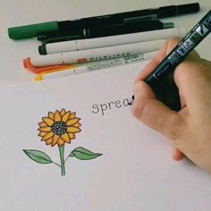 How to draw a sunflower. Bullet Journal Books, Bullet Journal Banner, Bullet Journal 2020, Bullet Journal Aesthetic, Bullet Journal Ideas Pages, Bullet Journal Layout, Bullet Journal Inspiration, Art Drawings For Kids, Doodle Drawings