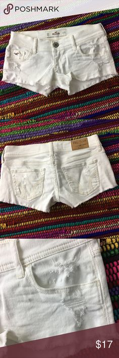 Hollister Cut off White Short Shorts Sz 00 Hollister - cut off short shorts. Frayed hem and distressing in front and back , size 00 and in good pre owned condition, see pics for distressing and condition. Hollister Shorts