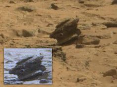Mars Anomalies Mars Curiosity Rover - May 25, 2013 |UFO Sightings Hotspot A photo of an Alien Probe or an Alien Craft that maybe crashed or is fossilized in some way. This object definitely looks mechanical. video