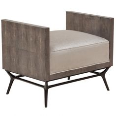 """27.5""""W x 19.75""""D x 22.75""""H Arm: 22.75"""" Seat: 17""""H Depth: 19.75""""  Upholstered wood frame on cast brass base  Available in COM and all Ironies leathers, wood, and applied finishes  COM yardage: 1 yard"""