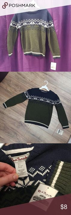 NWT Red Truck Moving Co Boy 5-6 Knit sweater Navy blue, hunter green and white knit sweater Red Moving Truck Shirts & Tops Sweaters