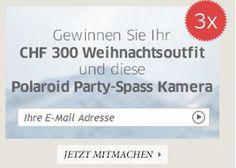Gewinne mit Cecil gratis dein Weihnachtsoutfit im Wert von 300.-!  Zusätzlich kannst du im Wettbewerb eine Polaroid Party-Kamera zu gewinnen.  Hier am Wettbewerb teilnehmen: http://www.gratis-schweiz.ch/gewinne-dein-weihnachtsoutfit/