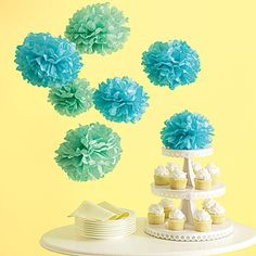 Our Blue Medium Tissue Paper Pom Poms are fun and festive party decorations in a beautiful shade of blue. Each set of Blue Tissue Pom Poms contains eight pom poms.