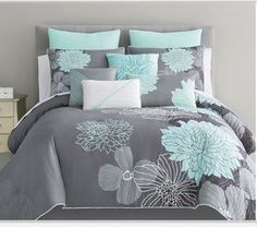 50 Turquoise Room Decorations Ideas and Inspirations Design Of Teal and Coral Bedroom – Flowers Idea Decorations Light Teal Bedrooms, Aqua Bedroom Decor, Teal Master Bedroom, Teen Bedroom, Bedroom Ideas, Girl Bedrooms, Grey And Teal Bedding, Yellow Gray Bedroom, Grey Comforter