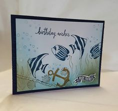 Stamping at The Warren: Seaside Shore Nautical Themed Birthday Card using…