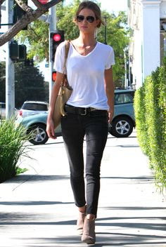 ankle denim, simple white tee, and booties