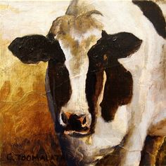 Holstein cow original oil painting on wood cow by GWENSART.