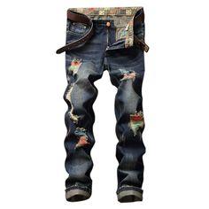 2017 New Designer High Quality hip hop Ripped Jeans Straight Hole Denim