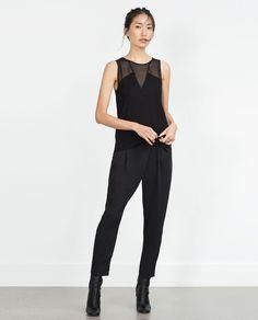 3d9b767cf75 изображение 1 из МАЙКА ПРОЗРАЧНАЯ от Zara All Black Outfit