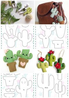 with Cactus Paper clip Planner accessories Felt clip Gifts for readers Felt Crafts Patterns, Felt Crafts Diy, Felt Diy, Fabric Crafts, Diy Sewing Projects, Sewing Crafts, Cactus Craft, Cactus Cactus, Indoor Cactus