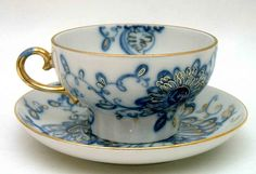 Russian Tea Cup and Saucer, Singing Garden, deep blue enhanced with 22Kt gold accents, gold handle.