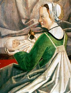 Detail from The Birth of Mary, c. 1495-1505, Germany/Austria. Full picture here: http://tarvos.imareal.oeaw.ac.at/server/images/7001659.JPG