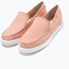 Sold‼️Zara Flat Leather calf hair sneakers size 8 Brand New with box Zara Shoes